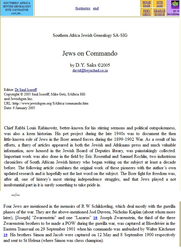 Publication Jews on Commando in the 1899-1902 War in South Africa